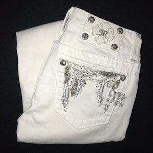 Miss Me White Embellished Bootcut Jeans 25 28